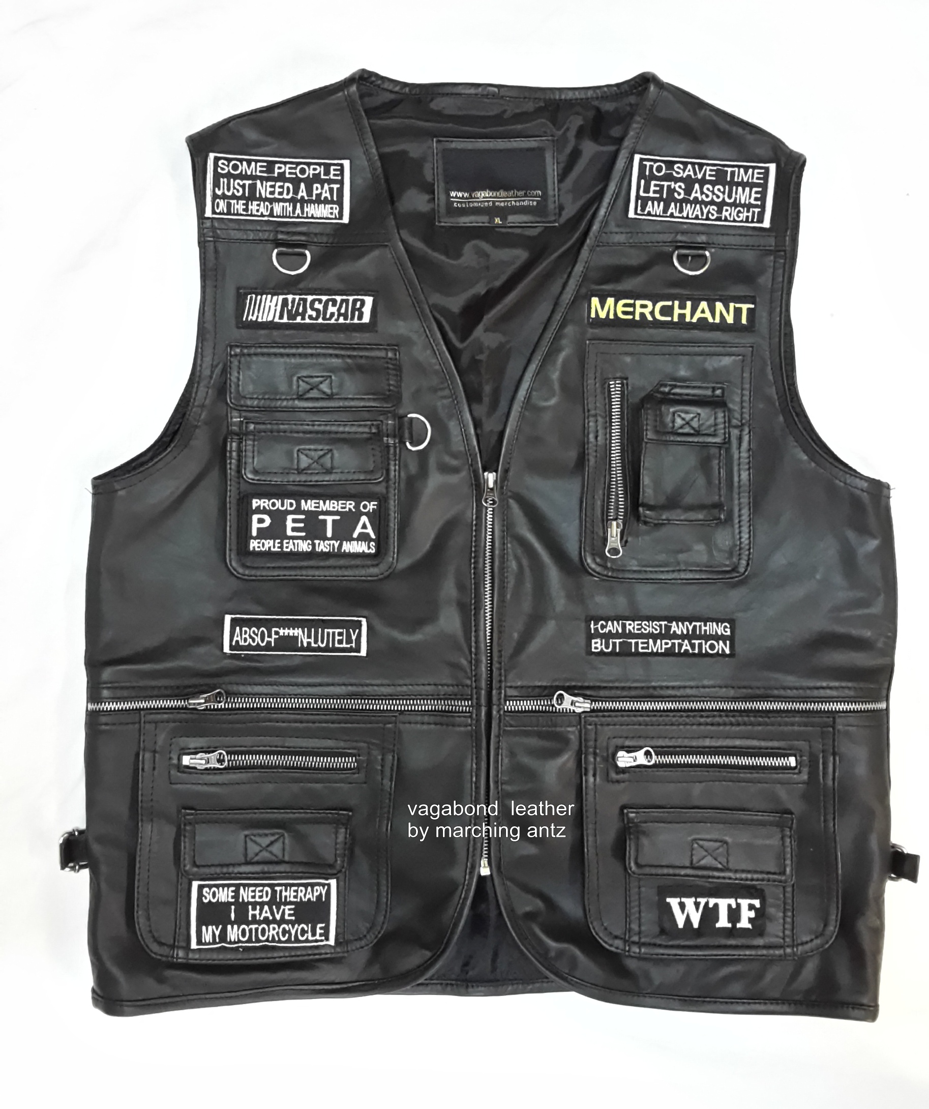 Embroidered Motorcycle leather Vest with Patches ...